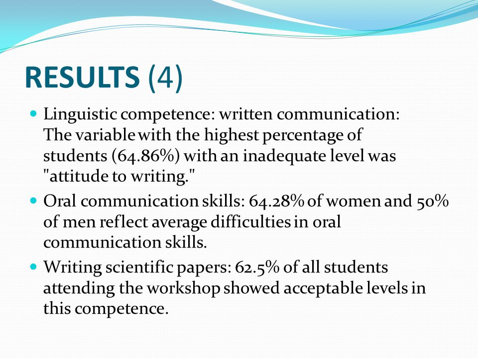 RESULTS (4) Linguistic competence: written communication: The variable with the highest percentage of students (64.86%) with an inadequate level was attitude to writing. Oral communication skills: 64.28% of women and 50% of men reflect average difficulties in oral communication skills.