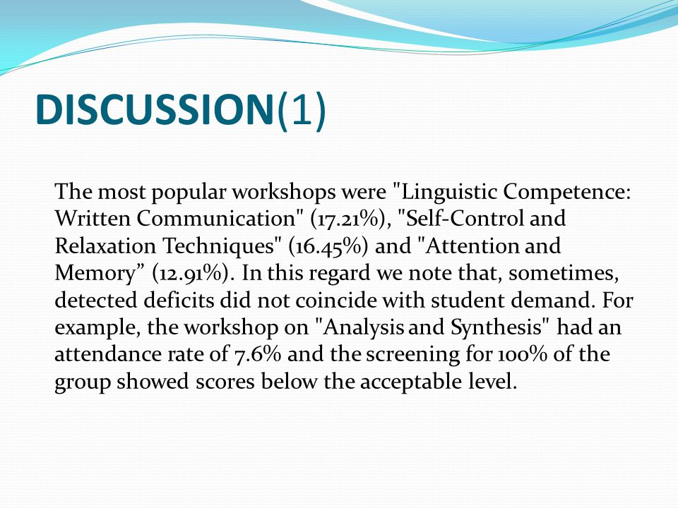 DISCUSSION(1) The most popular workshops were