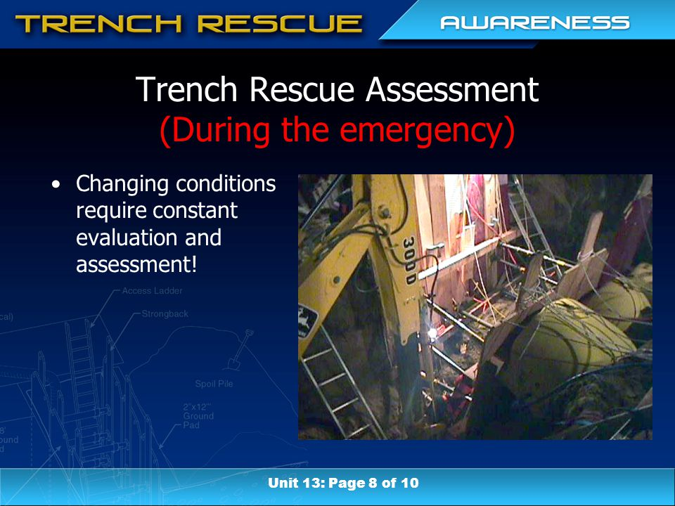 Trench Rescue Assessment (During the emergency) Changing conditions require constant evaluation and assessment! Unit 13: Page 8 of 10