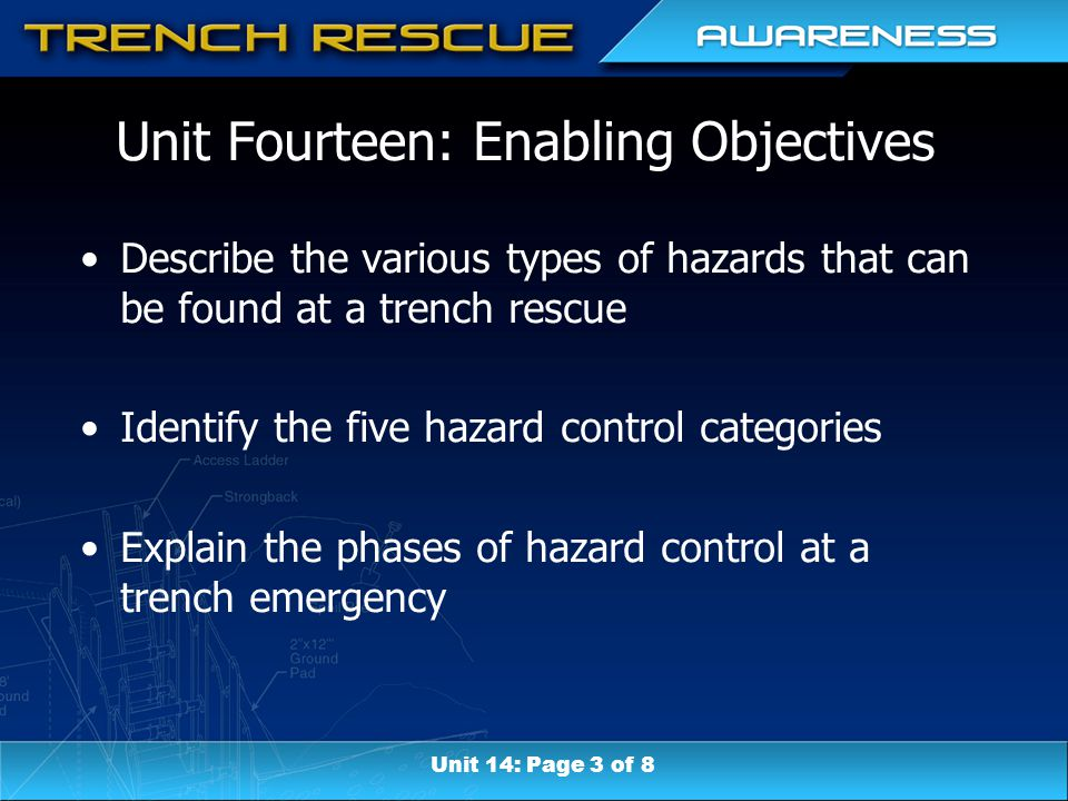 Unit Fourteen: Enabling Objectives Describe the various types of hazards that can be found at a trench rescue Identify the five hazard control categories Explain the phases of hazard control at a trench emergency Unit 14: Page 3 of 8