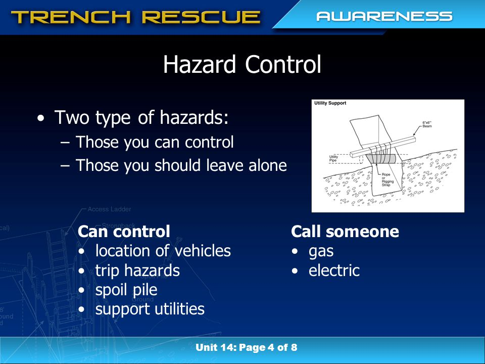 Can control location of vehicles trip hazards spoil pile support utilities Call someone gas electric Hazard Control Two type of hazards: –Those you can control –Those you should leave alone Unit 14: Page 4 of 8