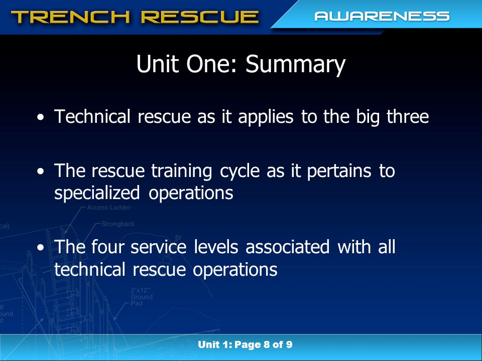 Unit One: Summary Technical rescue as it applies to the big three The rescue training cycle as it pertains to specialized operations The four service