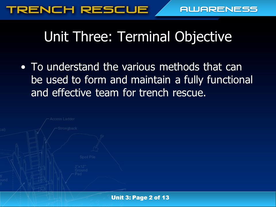 Unit Three: Terminal Objective To understand the various methods that can be used to form and maintain a fully functional and effective team for trenc
