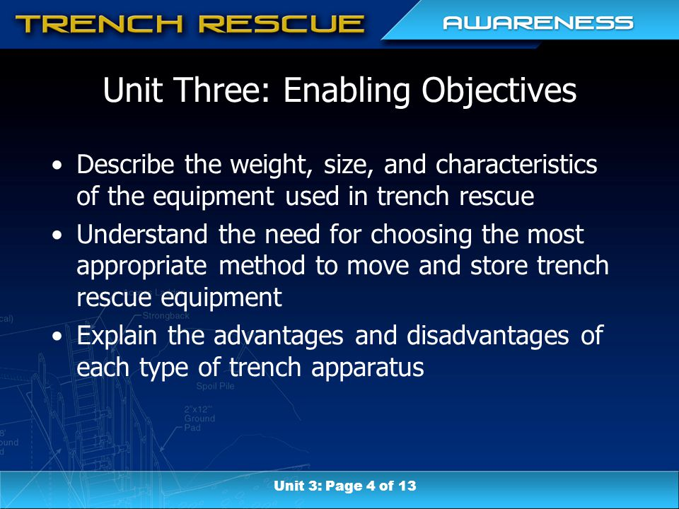 Unit Three: Enabling Objectives Describe the weight, size, and characteristics of the equipment used in trench rescue Understand the need for choosing the most appropriate method to move and store trench rescue equipment Explain the advantages and disadvantages of each type of trench apparatus Unit 3: Page 4 of 13