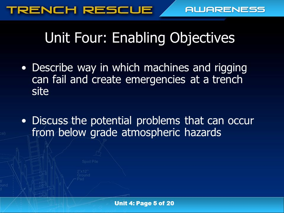 Unit Four: Enabling Objectives Describe way in which machines and rigging can fail and create emergencies at a trench site Discuss the potential probl