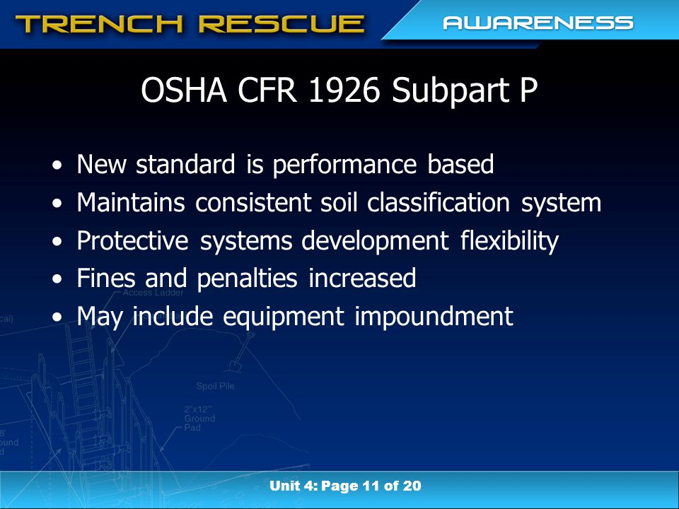 OSHA CFR 1926 Subpart P New standard is performance based Maintains consistent soil classification system Protective systems development flexibility F