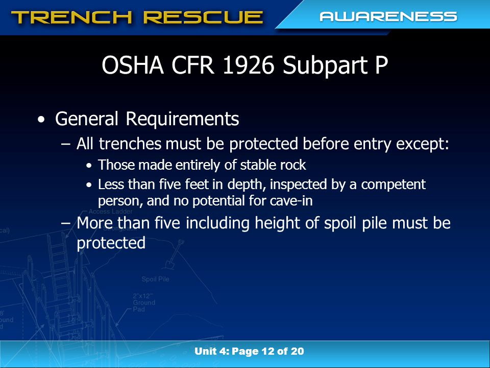 OSHA CFR 1926 Subpart P General Requirements –All trenches must be protected before entry except: Those made entirely of stable rock Less than five feet in depth, inspected by a competent person, and no potential for cave-in –More than five including height of spoil pile must be protected Unit 4: Page 12 of 20