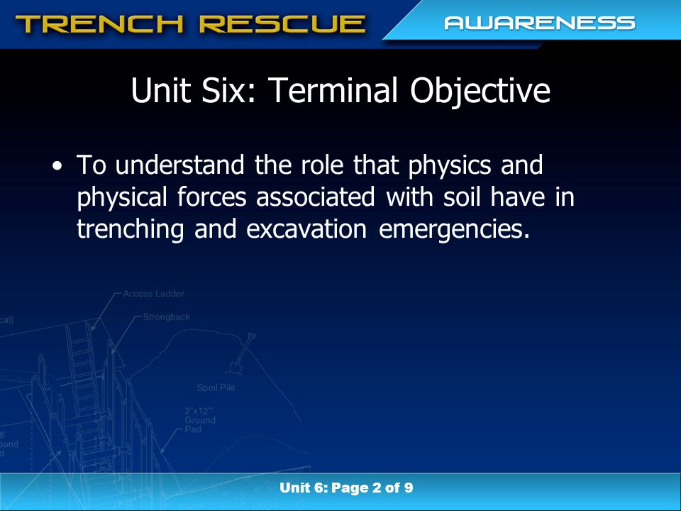 Unit Six: Terminal Objective To understand the role that physics and physical forces associated with soil have in trenching and excavation emergencies.