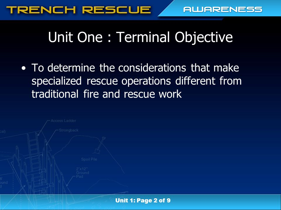 Unit Seven: Terminal Objective Determine the various factors that can lead to a trench or excavation failure.