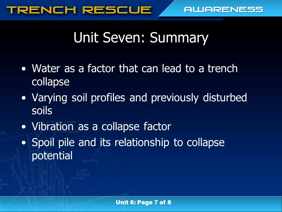 Unit Seven: Summary Water as a factor that can lead to a trench collapse Varying soil profiles and previously disturbed soils Vibration as a collapse factor Spoil pile and its relationship to collapse potential Unit 6: Page 7 of 8