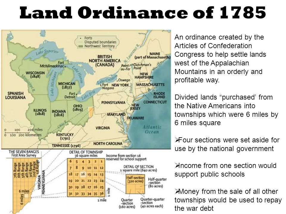 An ordinance created by the Articles of Confederation Congress to help settle lands west of the Appalachian Mountains in an orderly and profitable way.
