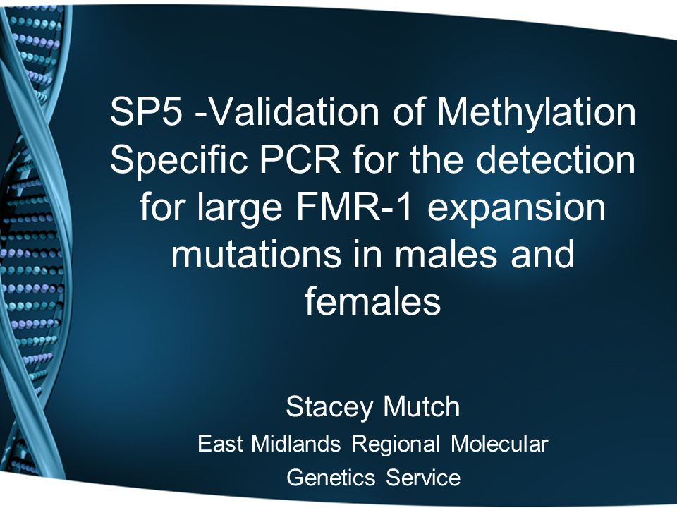 SP5 -Validation of Methylation Specific PCR for the detection for large FMR-1 expansion mutations in males and females Stacey Mutch East Midlands Regional Molecular Genetics Service