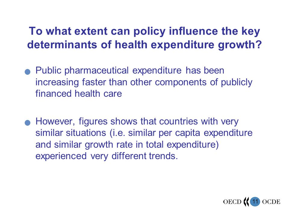 11 To what extent can policy influence the key determinants of health expenditure growth.