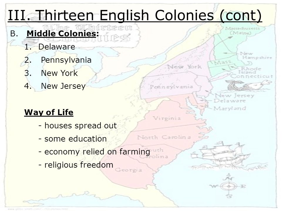 III. Thirteen English Colonies (cont) B. Middle Colonies: 1.Delaware 2.