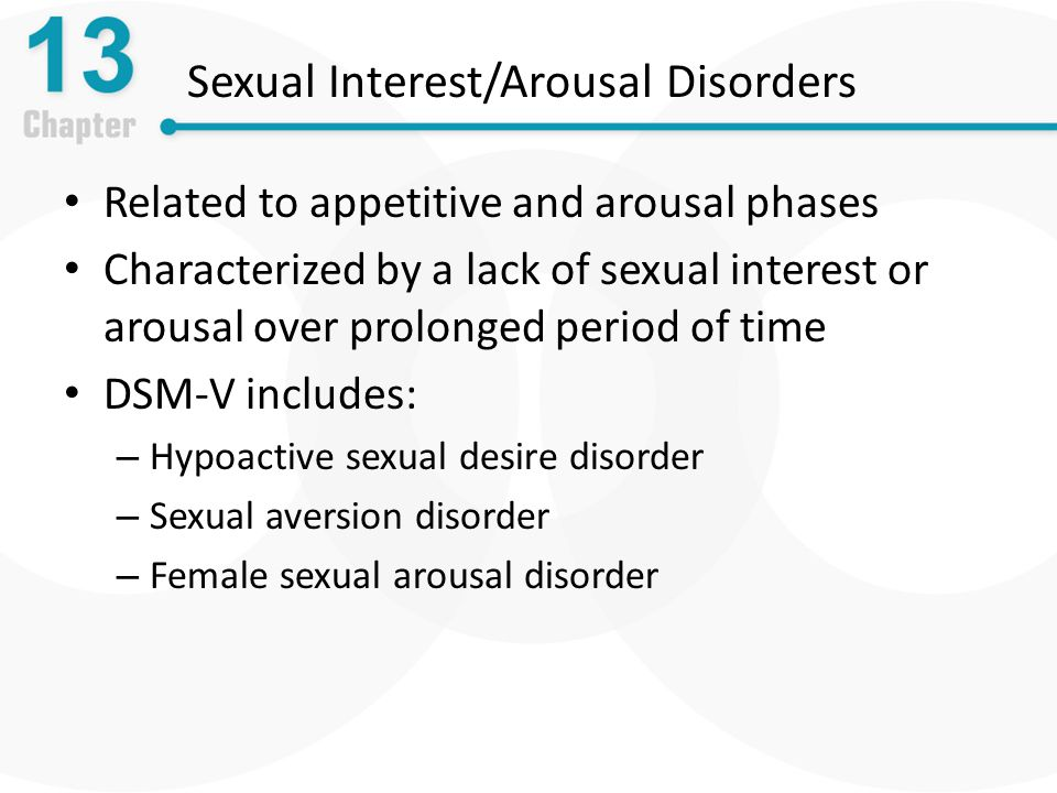 Sexual Interest/Arousal Disorders Related to appetitive and arousal phases Characterized by a lack of sexual interest or arousal over prolonged period of time DSM-V includes: – Hypoactive sexual desire disorder – Sexual aversion disorder – Female sexual arousal disorder