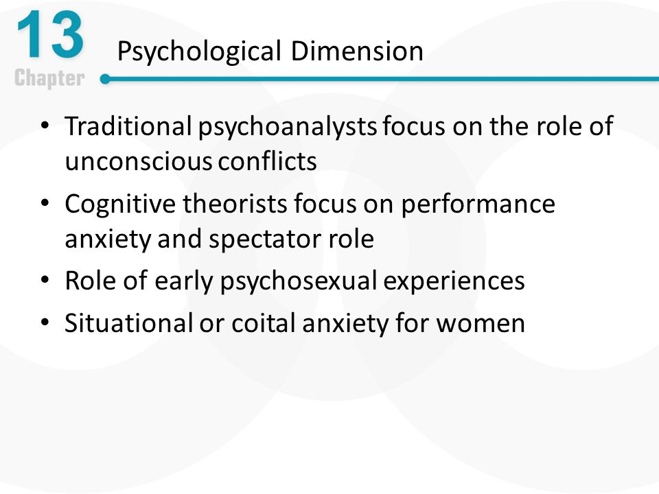 Psychological Dimension Traditional psychoanalysts focus on the role of unconscious conflicts Cognitive theorists focus on performance anxiety and spectator role Role of early psychosexual experiences Situational or coital anxiety for women