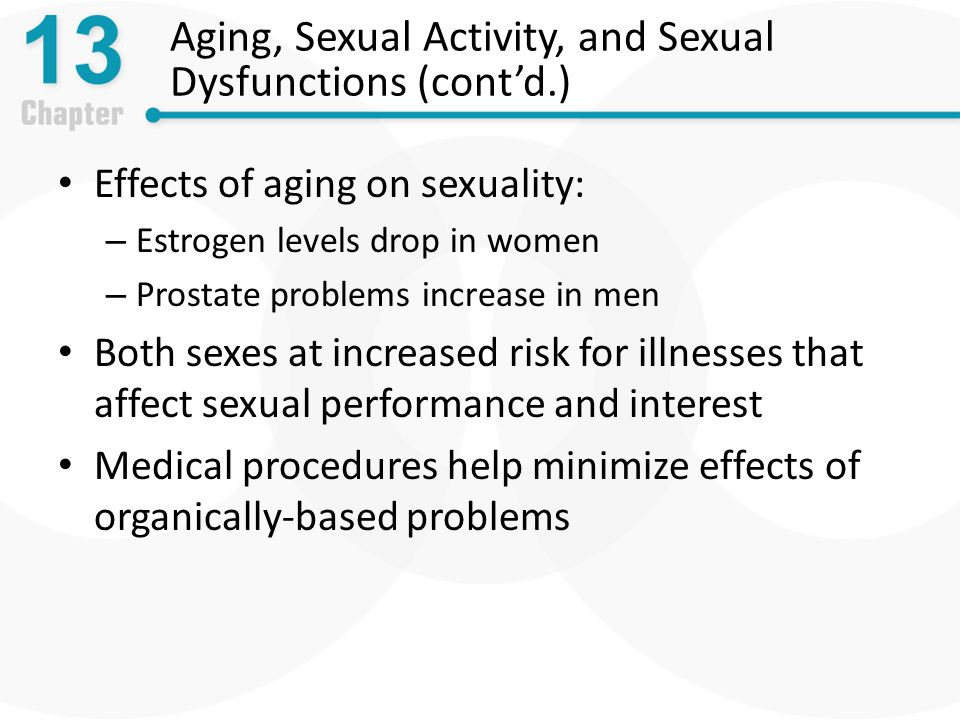 Aging, Sexual Activity, and Sexual Dysfunctions (cont'd.) Effects of aging on sexuality: – Estrogen levels drop in women – Prostate problems increase in men Both sexes at increased risk for illnesses that affect sexual performance and interest Medical procedures help minimize effects of organically-based problems