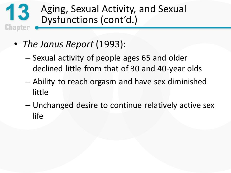 Aging, Sexual Activity, and Sexual Dysfunctions (cont'd.) The Janus Report (1993): – Sexual activity of people ages 65 and older declined little from that of 30 and 40-year olds – Ability to reach orgasm and have sex diminished little – Unchanged desire to continue relatively active sex life