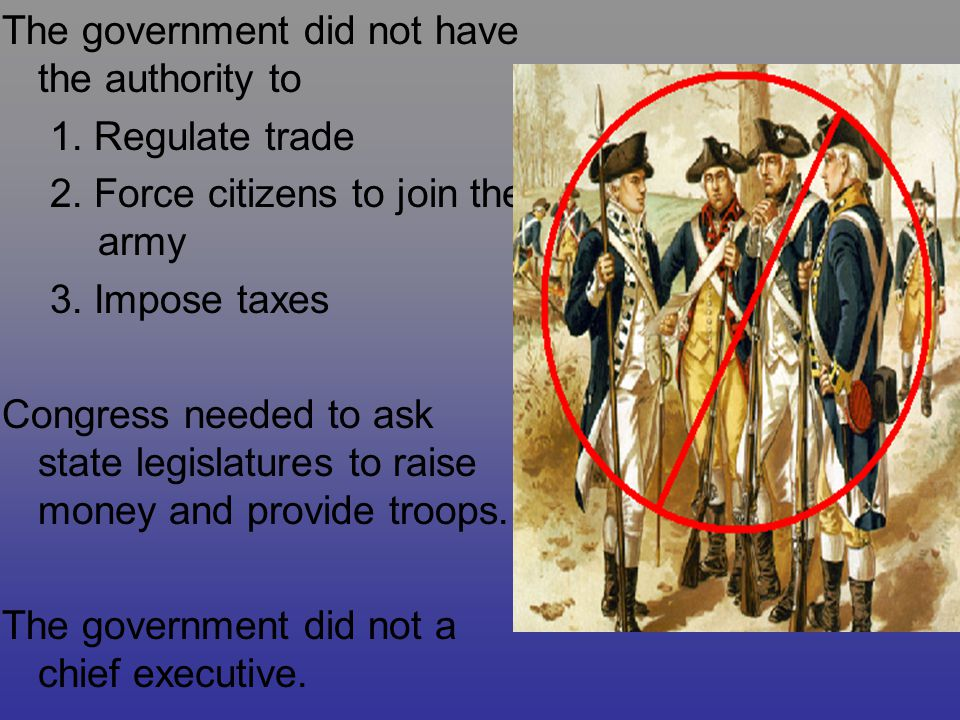 The government did not have the authority to 1. Regulate trade 2. Force citizens to join the army 3. Impose taxes Congress needed to ask state legisla