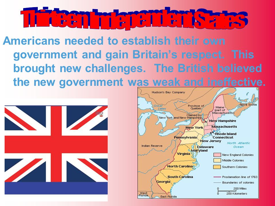Americans needed to establish their own government and gain Britain's respect. This brought new challenges. The British believed the new government wa