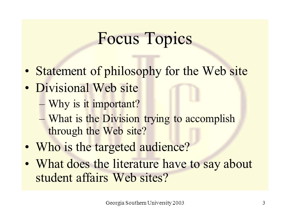 Georgia Southern University 20033 Focus Topics Statement of philosophy for the Web site Divisional Web site –Why is it important? –What is the Divisio
