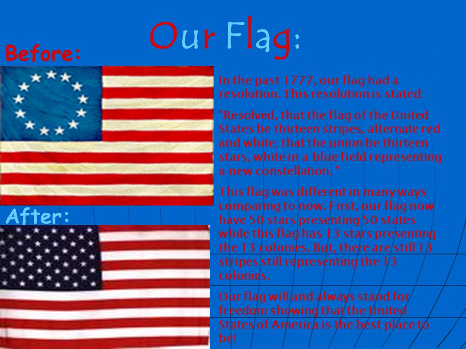 Our Flag: In the past 1777, our flag had a resolution.