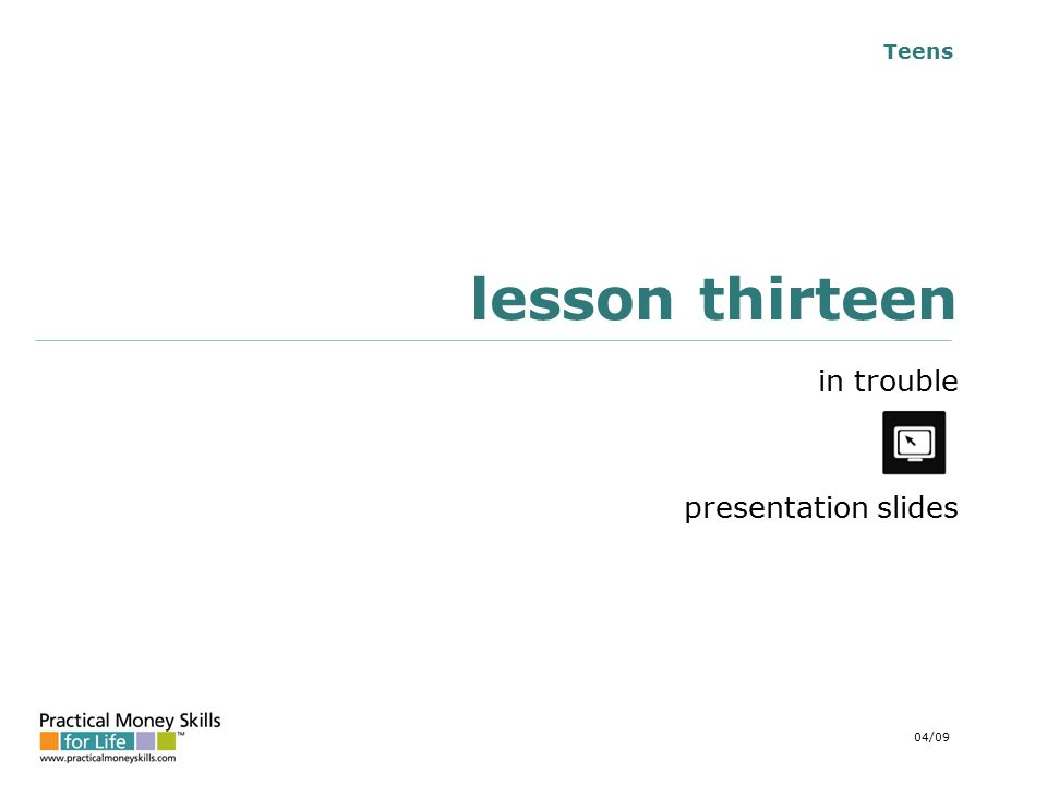 Teens lesson thirteen in trouble presentation slides 04/09