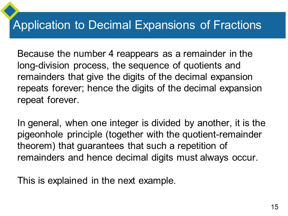 15 Application to Decimal Expansions of Fractions Because the number 4 reappears as a remainder in the long-division process, the sequence of quotient