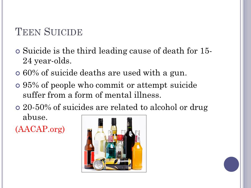 T EEN S UICIDE Suicide is the third leading cause of death for 15- 24 year-olds.