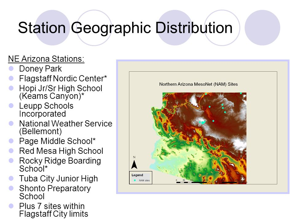 Station Geographic Distribution NE Arizona Stations: Doney Park Flagstaff Nordic Center* Hopi Jr/Sr High School (Keams Canyon)* Leupp Schools Incorporated National Weather Service (Bellemont) Page Middle School* Red Mesa High School Rocky Ridge Boarding School* Tuba City Junior High Shonto Preparatory School Plus 7 sites within Flagstaff City limits