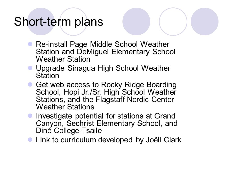 Short-term plans Re-install Page Middle School Weather Station and DeMiguel Elementary School Weather Station Upgrade Sinagua High School Weather Station Get web access to Rocky Ridge Boarding School, Hopi Jr./Sr.