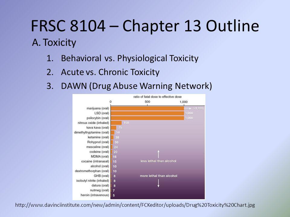 FRSC 8104 – Chapter 13 Outline http://www.davinciinstitute.com/new/admin/content/FCKeditor/uploads/Drug%20Toxicity%20Chart.jpg A.Toxicity 1.Behavioral vs.