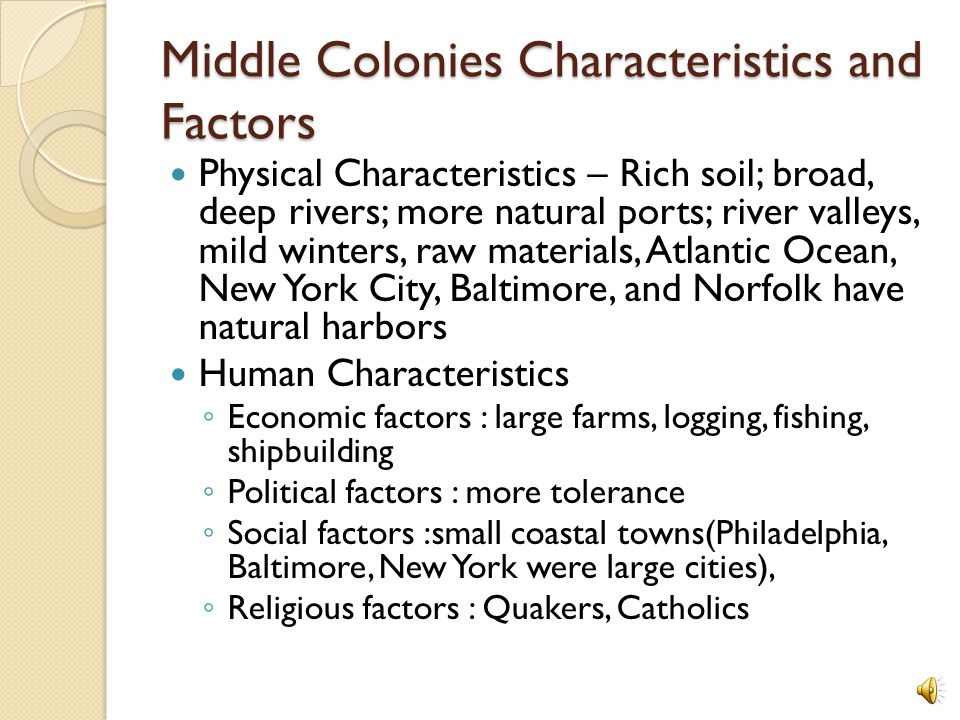 Middle Colonies Map