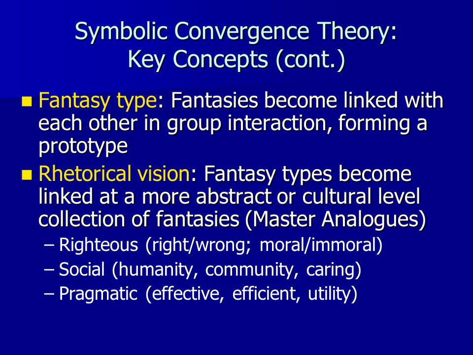 Symbolic Convergence Theory: Key Concepts (cont.) : Fantasies become linked with each other in group interaction, forming a prototype Fantasy type: Fa