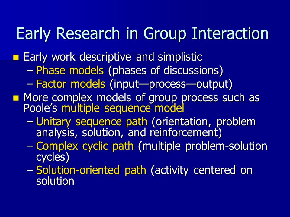 Early Research in Group Interaction Early work descriptive and simplistic Early work descriptive and simplistic –Phase models (phases of discussions)