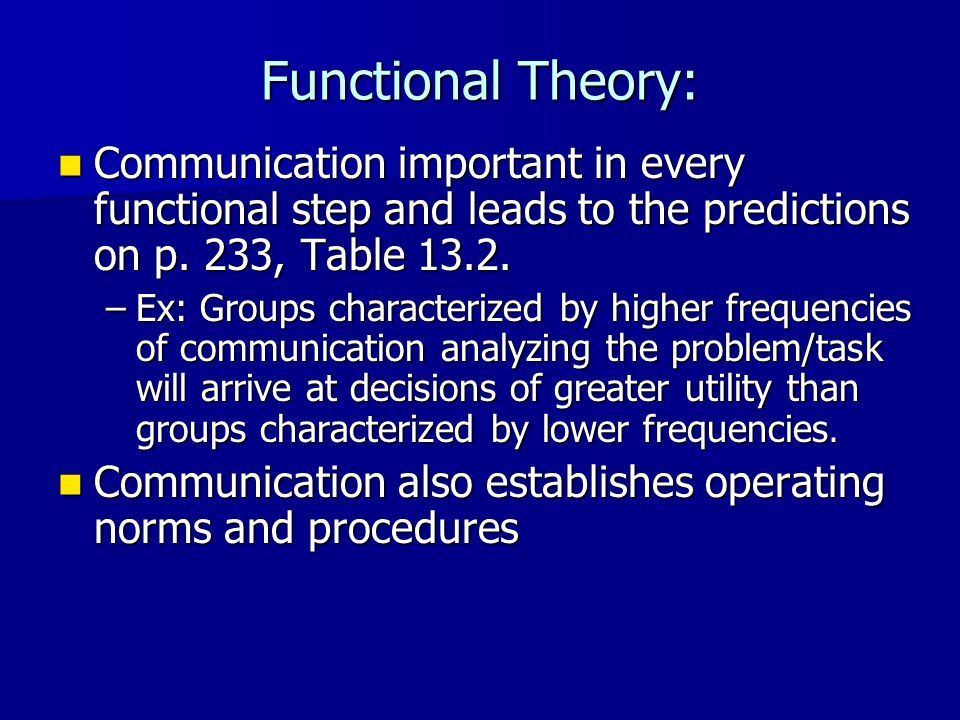 Functional Theory: Tests and Critiques Generally supported, but some functions are found to be more important (e.g., assessing negative consequences of alternative solutions) Generally supported, but some functions are found to be more important (e.g., assessing negative consequences of alternative solutions) Research critiqued for emphasis on zero- history and ad hoc groups composed of college students Research critiqued for emphasis on zero- history and ad hoc groups composed of college students groups and task functions Seems to be relevant only for task-related groups and task functions