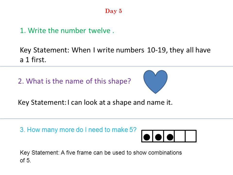 1. Write the number twelve. Key Statement: When I write numbers 10-19, they all have a 1 first.