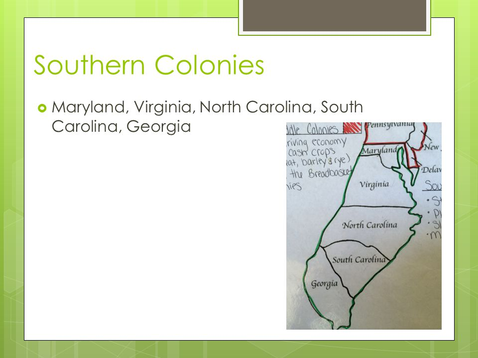 Southern Colonies  Strict social structure  Plantations  Relied on slavery  Made money for investors  Farming  Indigo  Tobacco  Rice
