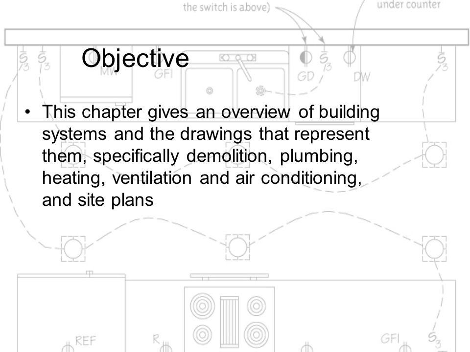 Objective This chapter gives an overview of building systems and the drawings that represent them, specifically demolition, plumbing, heating, ventila