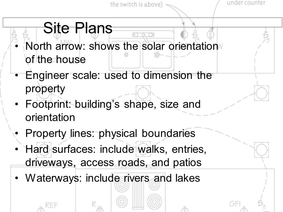 Site Plans North arrow: shows the solar orientation of the house Engineer scale: used to dimension the property Footprint: building's shape, size and