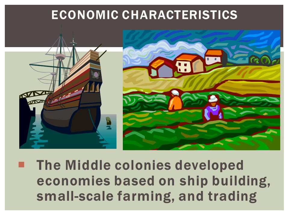 ECONOMIC CHARACTERISTICS  The Middle colonies developed economies based on ship building, small-scale farming, and trading
