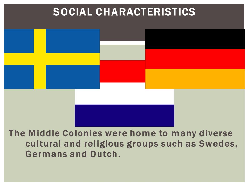 SOCIAL CHARACTERISTICS The Middle Colonies were home to many diverse cultural and religious groups such as Swedes, Germans and Dutch.
