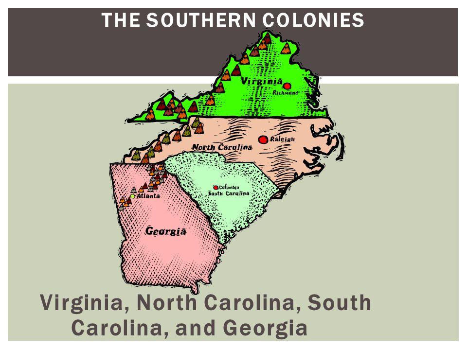 THE SOUTHERN COLONIES Virginia, North Carolina, South Carolina, and Georgia