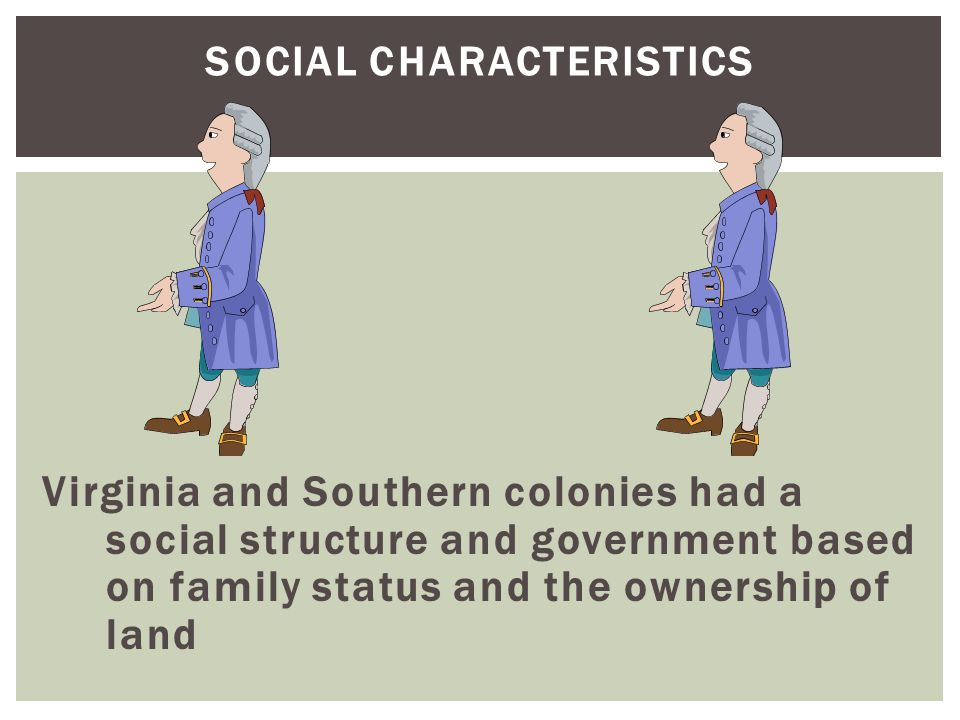 SOCIAL CHARACTERISTICS Virginia and Southern colonies had a social structure and government based on family status and the ownership of land