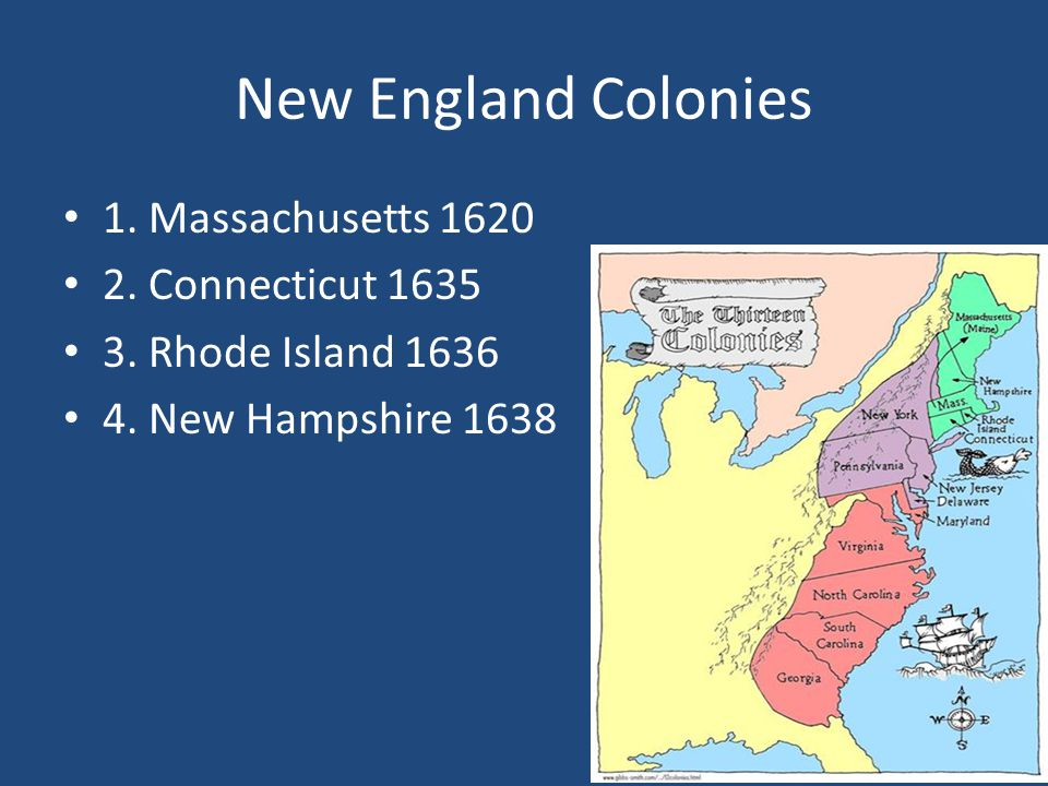 New England Colonies 1. Massachusetts 1620 2. Connecticut 1635 3. Rhode Island 1636 4. New Hampshire 1638