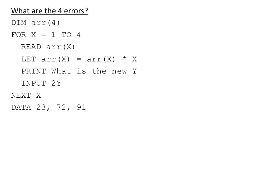 What are the 4 errors.