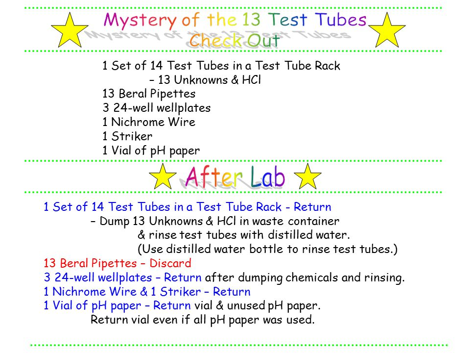 1 Set of 14 Test Tubes in a Test Tube Rack - Return – Dump 13 Unknowns & HCl in waste container & rinse test tubes with distilled water.
