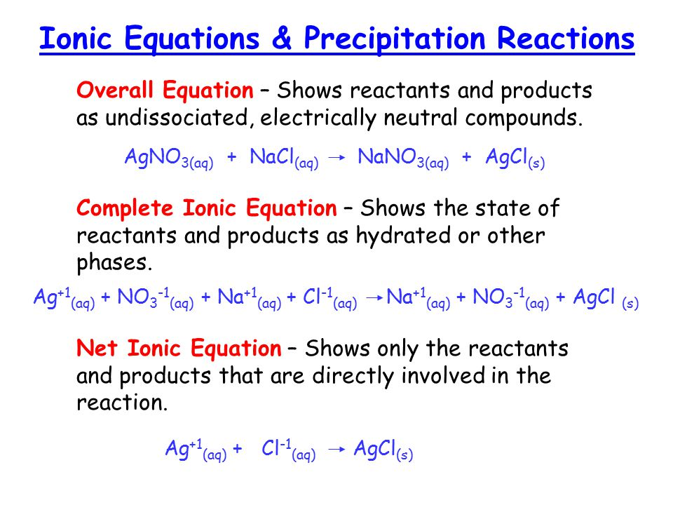 Overall Equation – Shows reactants and products as undissociated, electrically neutral compounds.