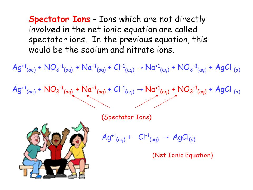 Spectator Ions – Ions which are not directly involved in the net ionic equation are called spectator ions.