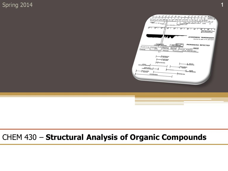 CHEM 430 – Structural Analysis of Organic Compounds Spring 2014 1